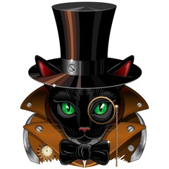 Steampunk Black Cat Portrait