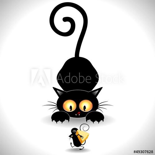 Cat Cartoon in Ambush-Gatto in Agguato e Topolino Clip Art