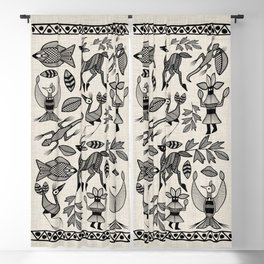 African Senufo Korhogo Tribal Ethnic Art Seamless Pattern Blackout Curtain