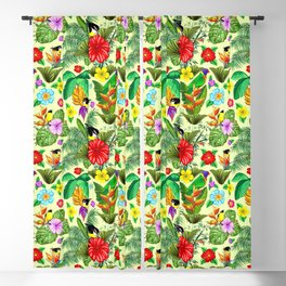 Birds and Nature Floral Exotic Seamless Pattern Blackout Curtain