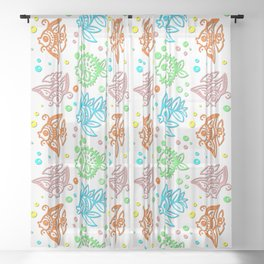Fishes Batik Style Seamless Pattern Sheer Curtain