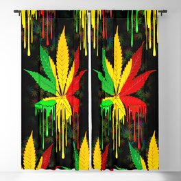 Marijuana Leaf Rasta Colors Dripping Paint Blackout Curtain