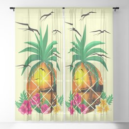 Pineapple Tropical Sunset, Palm Tree and Flowers Sheer Curtain
