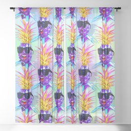 Pineapple Ultraviolet Happy Dude with Sunglasses Sheer Curtain