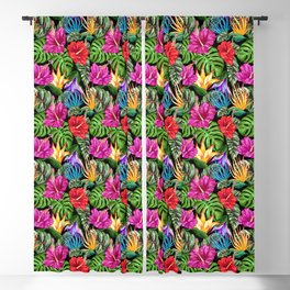 Tropical Flora Summer Mood Pattern Blackout Curtain