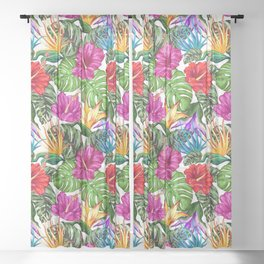Tropical Flora Summer Mood Pattern Sheer Curtain