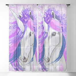 Unicorn Spirit Pink and Purple Mythical Creature Sheer Curtain