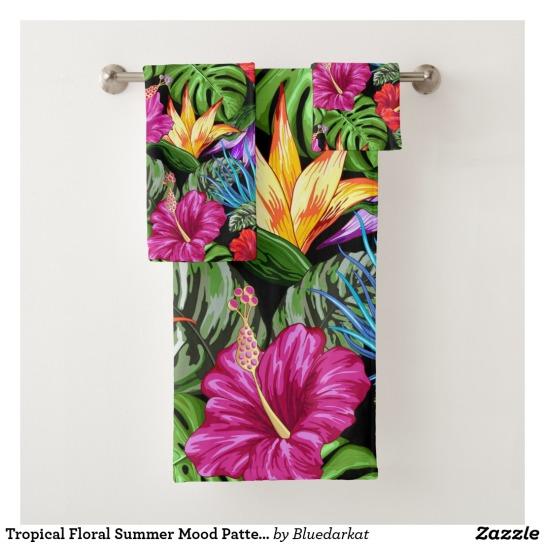 Tropical Floral Summer Mood Pattern Bath Towel Set