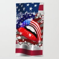 USA Flag Lipstick on Sensual Lips Unisex V-Neck by bluedarkatlem | Society6