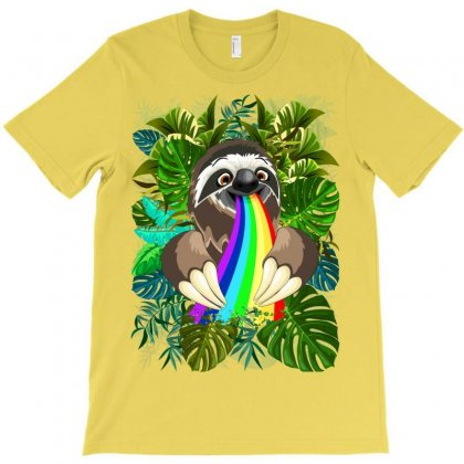Sloth Spitting Rainbow Colors T-shirt Designed By Thechameleonart