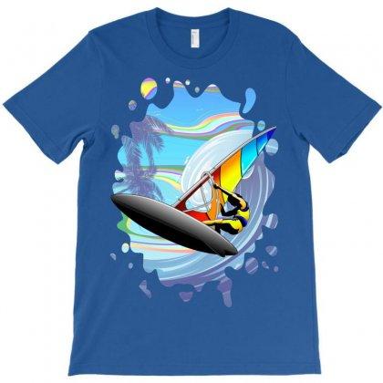 Windsurfer On Ocean Waves T-shirt Designed By Thechameleonart