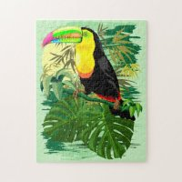 SOLD! Thank You! Toucan in Green Amazonia Rainforest Jigsaw Puzzle