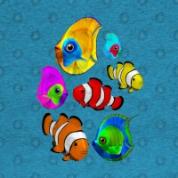 Summer Tropical Colorful Fish Pattern T-shirts 🐠 Design © BluedarkArt TheChameleonArt
