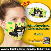 NEW Face Mask 😸 Cat Funny Cartoon Character with Face Mask and Viruses