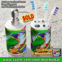 SOLD! Rainbow Lorikeet Parrot Soap Dispenser And Toothbrush Holder 🔹 Design © BluedarkArt