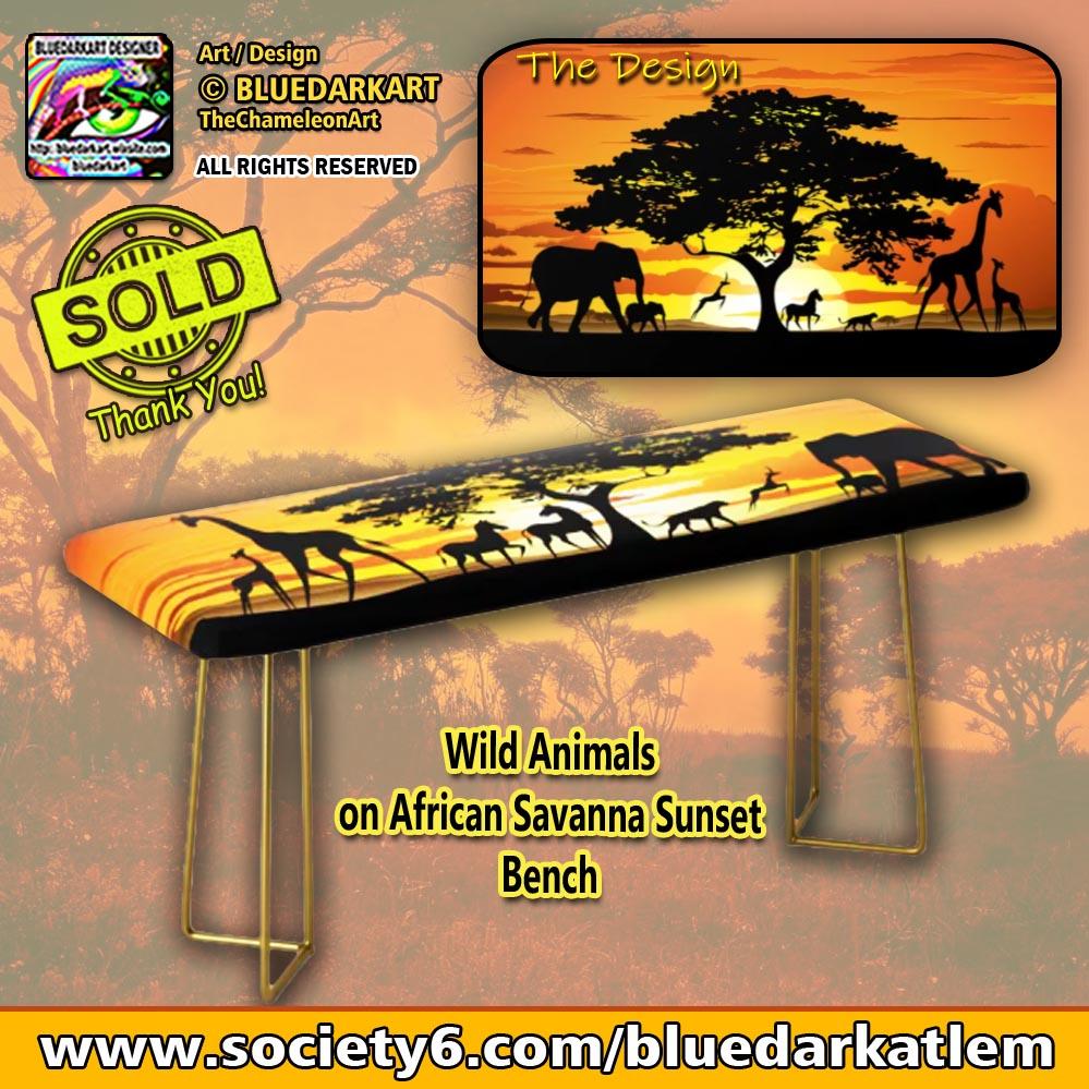 #Wild #Animals on #African #Savanna #Sunset #Bench 🟠 #Design © #BluedarkArt #TheChameleonart