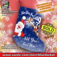SOLD! 🎅 Merry Christmas Happy Santa and Reindeer Small Christmas Stocking 🎅 Design Copyright BluedarkArt TheChameleonArt