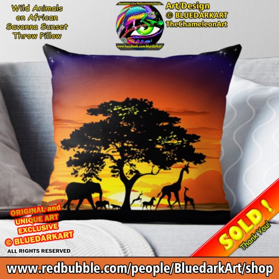 Wild Animals on African Savanna Sunset Throw Pillow - Design © BluedarkArt TheChameleonArt