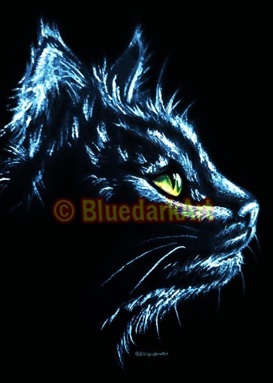 Cat Portrait White Charcoal © BluedarkArt - License for sale on Digital Download
