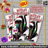 Evil Black Cat VS Christmas Tree Greeting Cards 🎄 Design © BluedarkArt TheChameleonArt