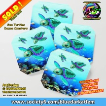 Sea Turtles Dance Coasters - Design © BluedarkArt TheChameleonArt