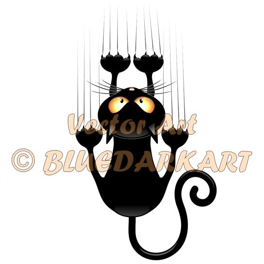 Cat Cartoon Scratching Wall © BluedarkArt TheChameleonArt