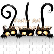 Three Naughty Black Cats Cartoon © BluedarkArt TheChameleonArt