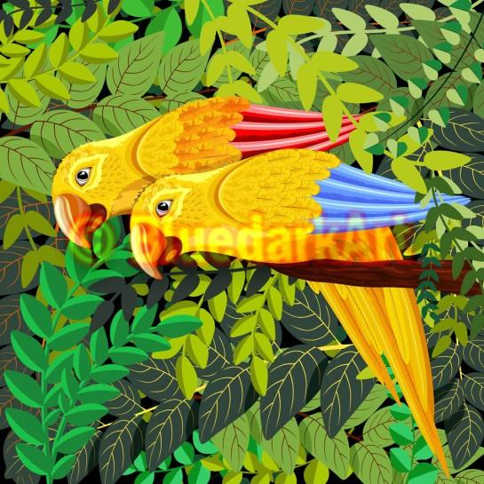 Yellow Parrots in the Jungle Vector Caribbean Art © BluedarkArt TheChameleonArt