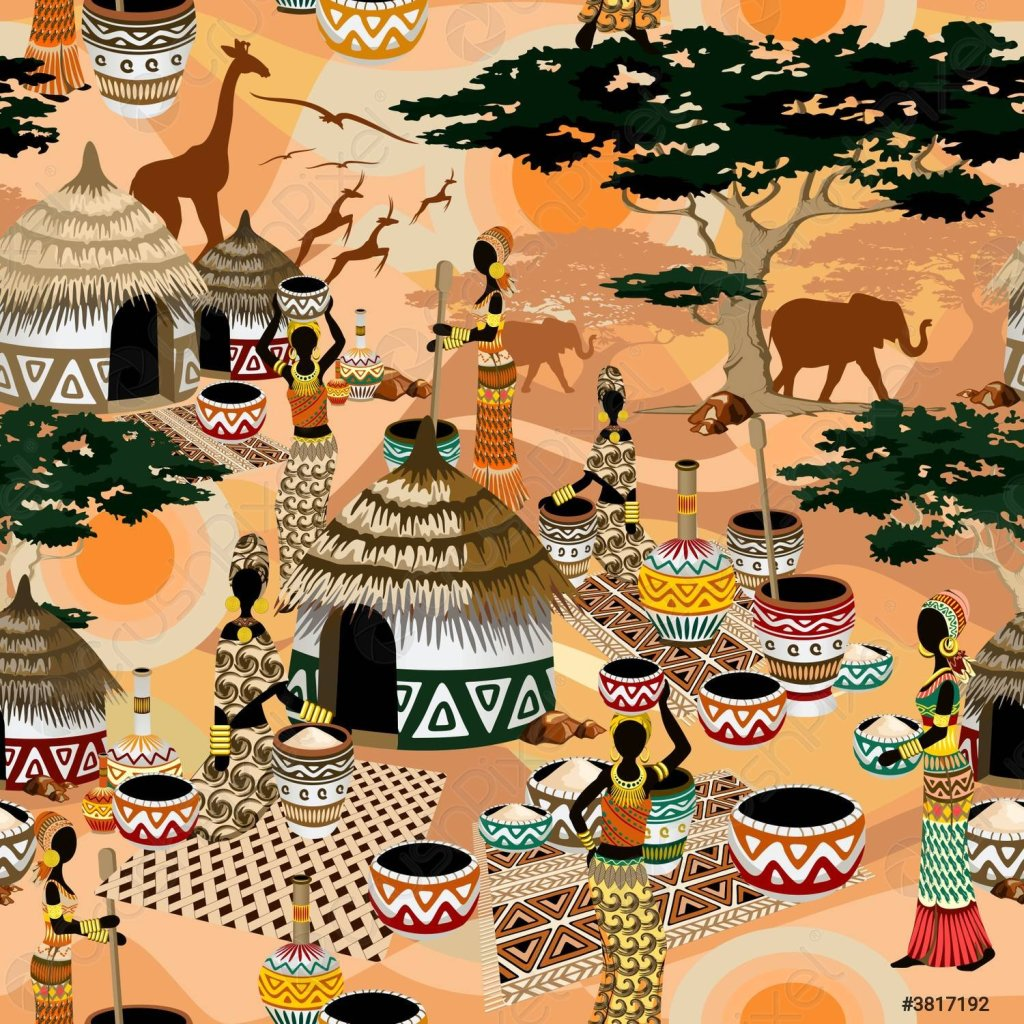 African Life Women in Savanna Tribal Village Vector Seamless Fabric Pattern Background  Warm and tranquil African Savanna scenery with a peaceful tribal village where many women are working among the huts. All elements are assembled to compose a vector seamless repeat Fabric Pattern. Vector Graphic Art Copyright BluedarkArt TheChameleonArt.