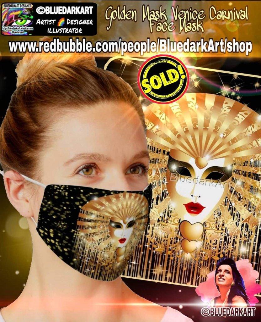 Golden Venice Carnival Face Mask - covid19 accessories - Health