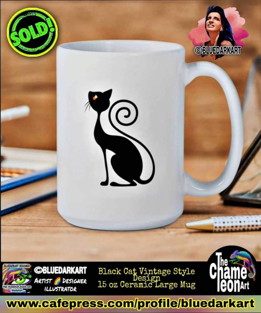 Black cat vintage Style Mug - Design copyright BluedarkArt TheChameleonART
