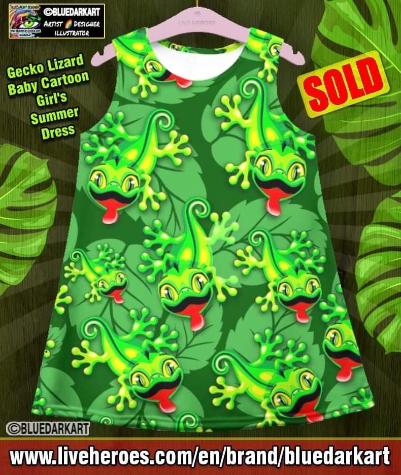 Cute Gecko Lizard Summer Dress - Girly Fashion - Gift ideas for her - shopping online