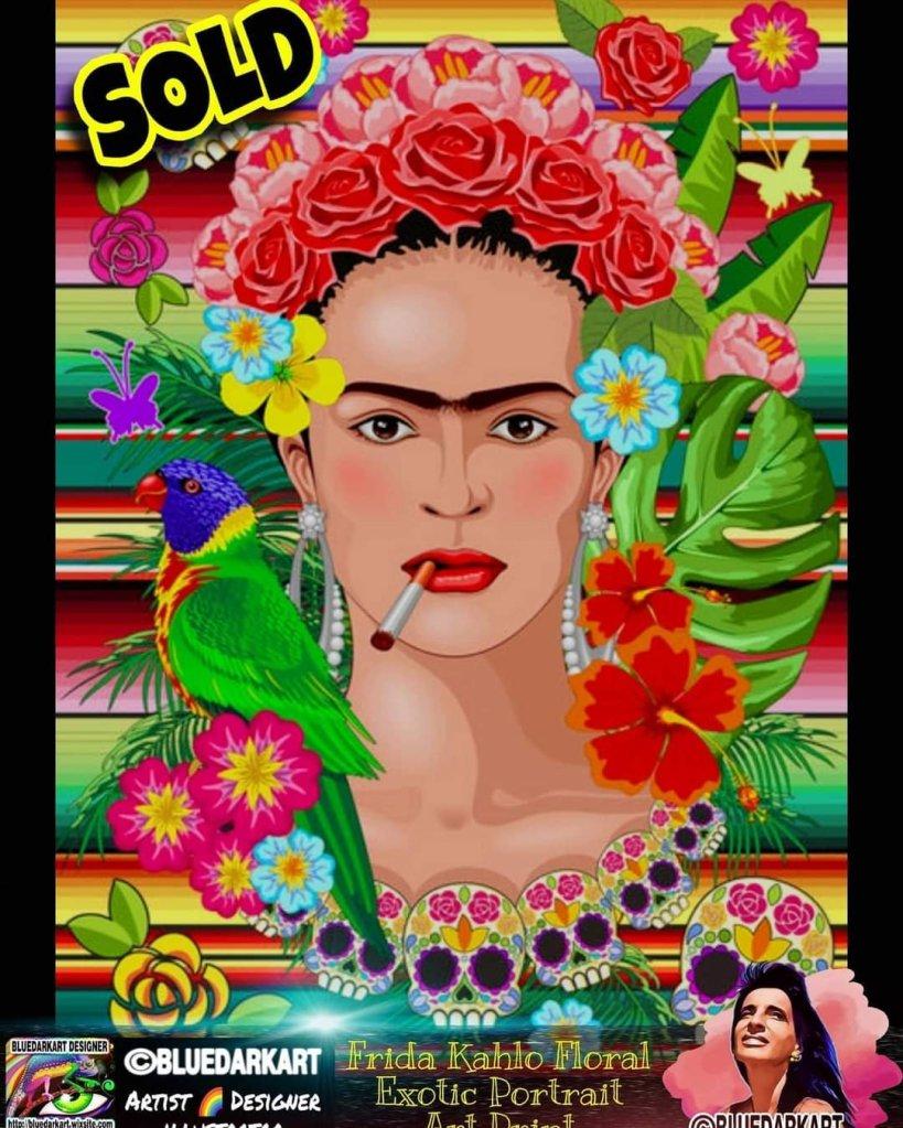 Frida Kahlo Floral Exotic Portrait - Art by BluedarkArt TheChameleonArt - Wall Art - Wall Decor - Shopping