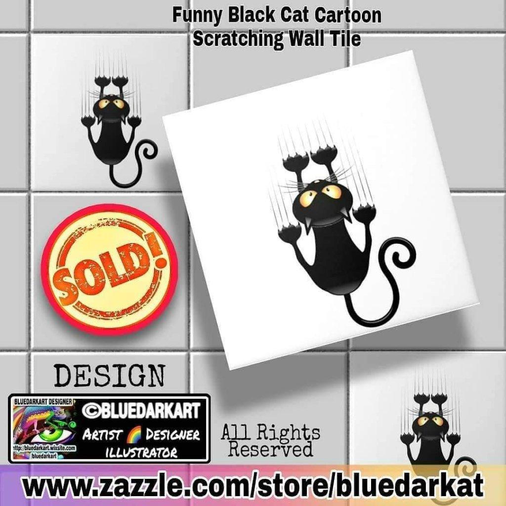 Funny Black Cat Scratching Wall Tiles - Design ©️ BluedarkArt TheChameleonArt - Home Decor - wall decor - shopping - gift ideas