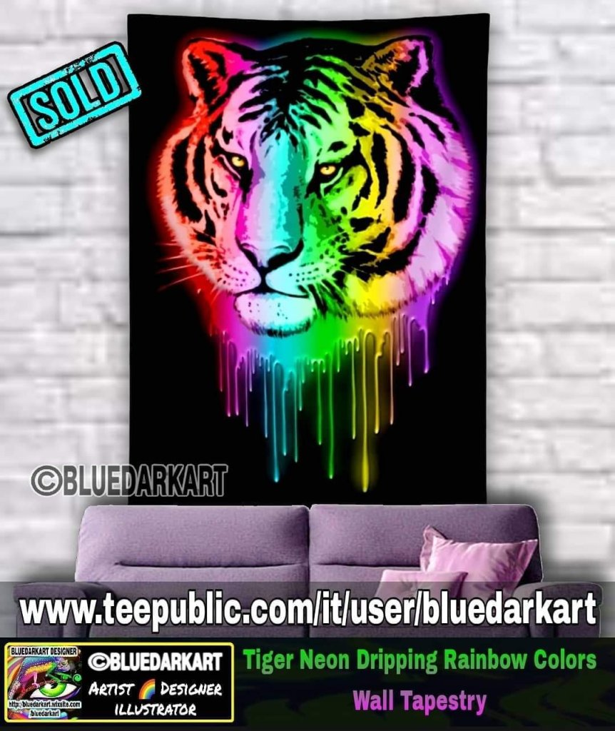 Tiger Neon Dripping Rainbow Colors Wall Tapestry