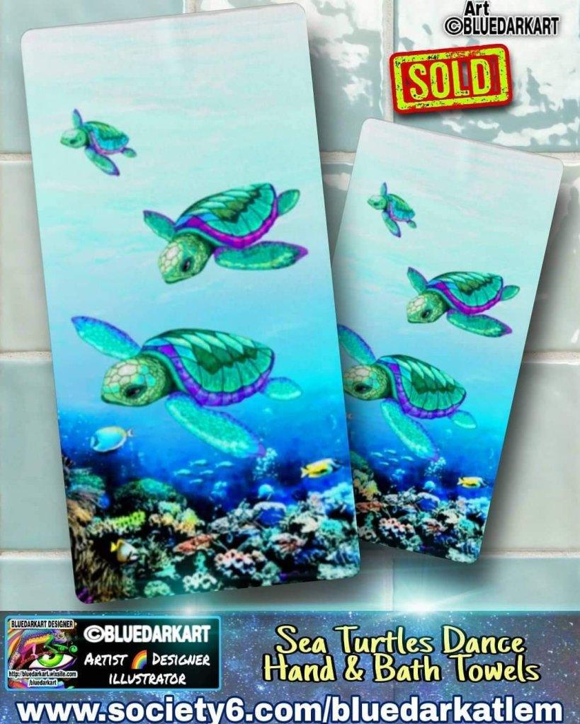 Sea Turtles Dance Hand & Bath Towels--Design ©️ BluedarkArt TheChameleonArt- Shopping - Gift ideas - trends