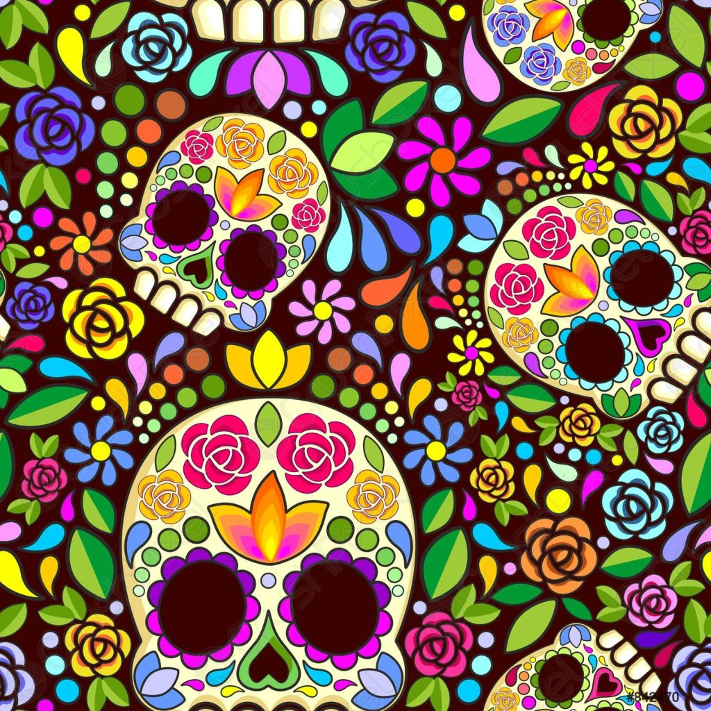 Sugar Skull Floral Naif Art Mexican Calaveras Vector Seamless Pattern Design  Colorful Naif Style Sugar Skull with Floral Decorations Dias de Los Muertos Day of the Dead Mexican Traditional Celebration Symbol originally made from either sugar Original Vector Illustration Design assembled to compose a Repeat Seamless Pattern Copyright BluedarkArt
