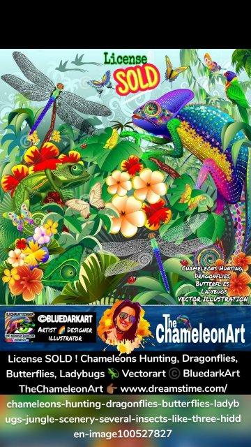 License SOLD ! Chameleons Hunting, Dragonflies, Butterflies, Ladybugs 🦎 Vectorart ©️ BluedarkArt TheChameleonArt 👉🏾 www.dreamstime.com/chameleons-hunting-dragonflies-butterflies-ladybugs-jungle-scenery-several-insects-like-three-hidden-image100527827