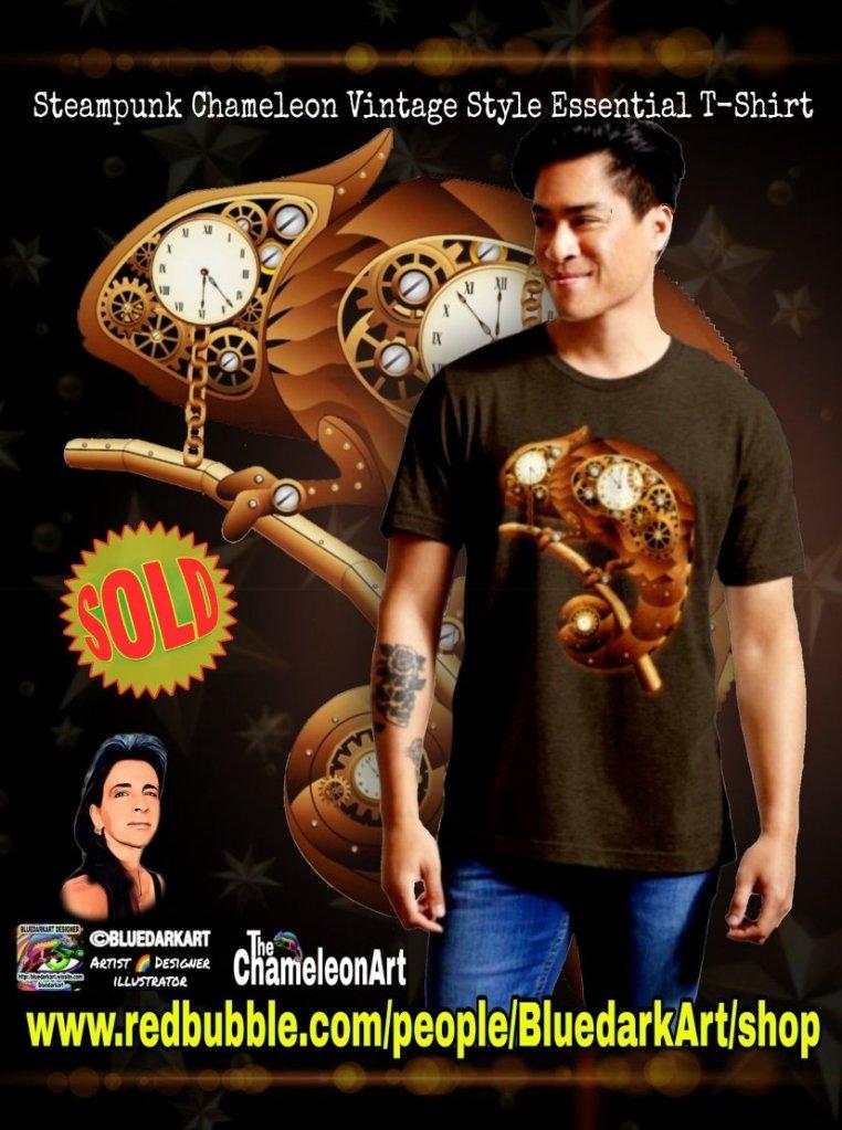 Steampunk Chameleon Vintage StyleEssential Tshirt - #design ©️ BluedarkArt TheChameleonArt