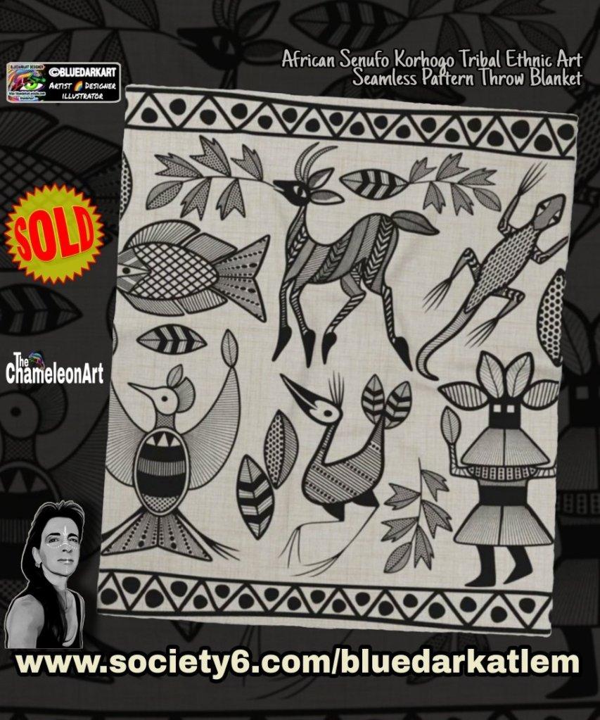 African Senufo Korhogo Tribal Ethnic Art Seamless Pattern Throw Blanket 🔸️ Design ©️ BluedarkArt TheChameleonArt
