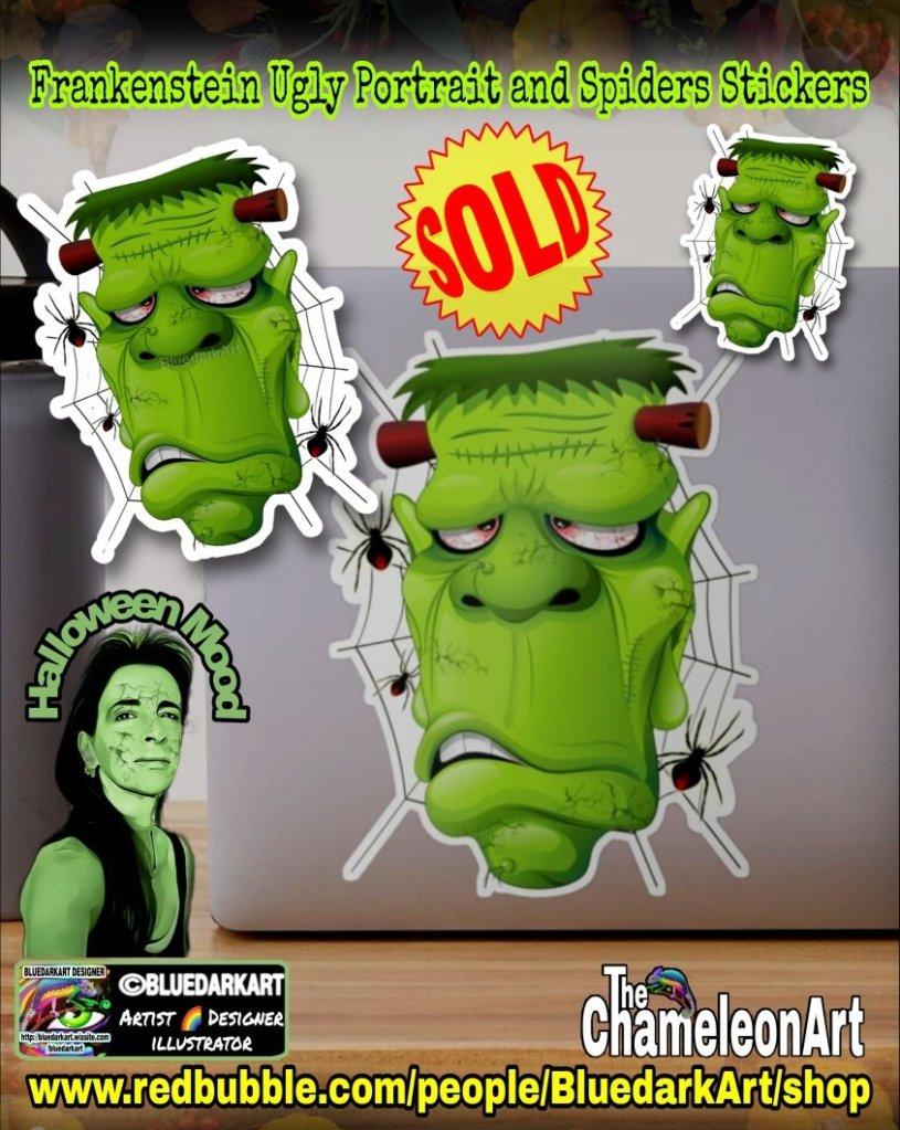Frankenstein Ugly Portrait and SpidersStickers - Design ©️ BluedarkArt TheChameleonArt