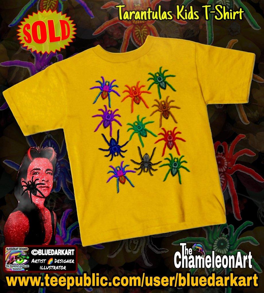 Spiders Colorful Halloween Tarantulas Pattern Kids Tshirt - Design © BluedarkArt TheChameleonart