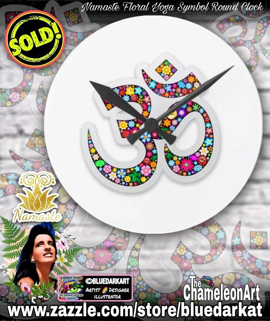 Namaste Floral Yoga Symbol Wall Clock - Design ©️ BluedarkArt TheChameleonArt