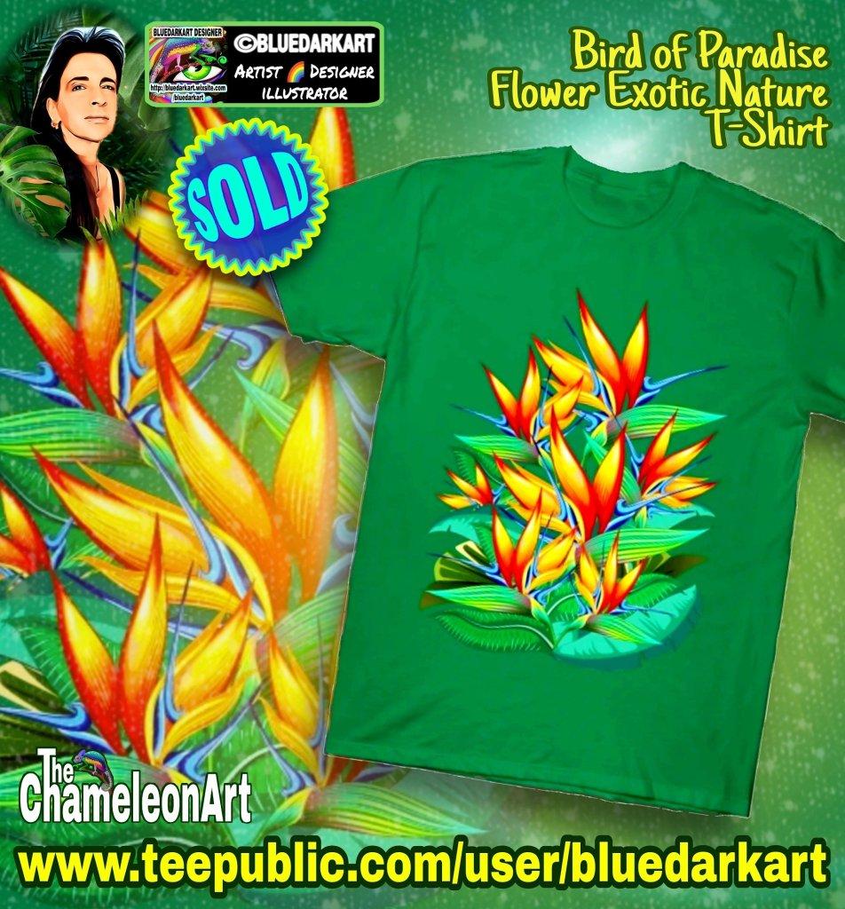 Bird of Paradise Flower Exotic Nature TShirt - Design © BluedarkArt TheChameleonArt