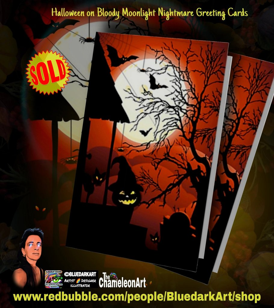 Halloween on Bloody Moonlight NightmareGreeting Cards - Design ©️ BluedarkArt TheChameleonArt